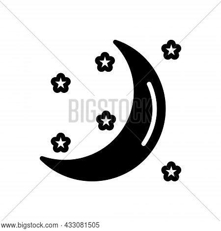 Black Solid Icon For Moon Moonlight Galaxy Heaven Crescent Night Celestial Satellite Cosmos Nighttim
