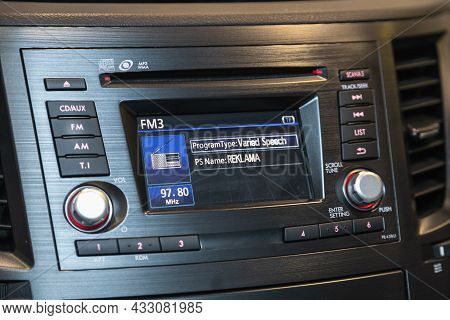 Novosibirsk, Russia - August  21, 2021:  Subaru Outback,audio Stereo System, Control Panel