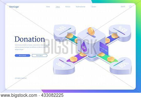 Donation Isometric Landing Page. Charity, Volunteering And Social Help, Coins Fall Into Money Box Sl