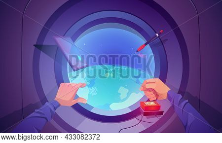 Spaceship Interior With Earth View Through Round Window. Concept Of Flight In Shuttle For Science Di