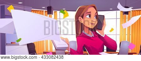 Business Woman In Office With Smartphone And Notepad In Hands, Businesswoman Speak By Mobile Phone I