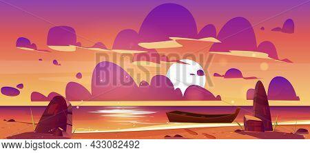 Wooden Boat On Dusk Sea, Sunset Seascape, Evening Ocean Picturesque Landscape. Nature Background Wit