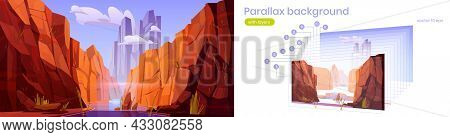 Parallax Background Grand Canyon With River, National Park Of Arizona, Red Sandstone Mountains, Hori