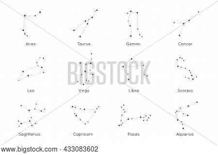 Collection Of Zodiac Constellations Signs. Astrological Horoscope Icons Of Aries, Taurus, Leo, Gemin