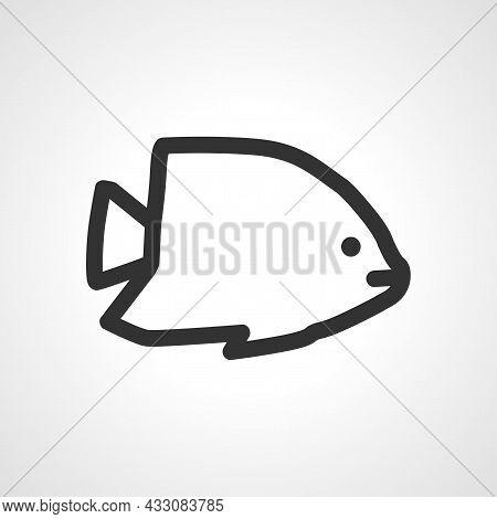 Aquarium Exotic Fish Vector Line Icon. Exotic Fish Linear Outline Icon.
