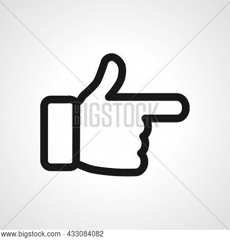 Forefinger Vector Line Icon. Pointing Hand Linear Outline Icon.