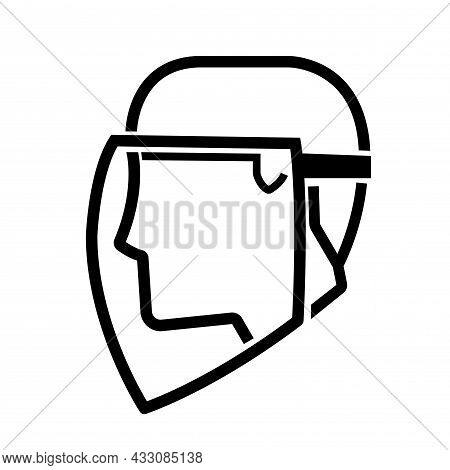 Face Shield Required Black Icon ,vector Illustration, Isolate On White Background Label. Eps10