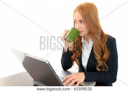 Office lady with PC