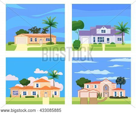 Residential Home Buildings In Landscape Tropic Trees, Palms. House Exterior Facades Front View Archi