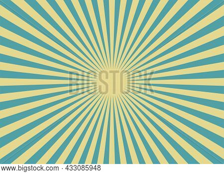 Sunlight Retro Horizontal Background. Blue And Yellow Candy Color Burst Background. Fantasy Vector I