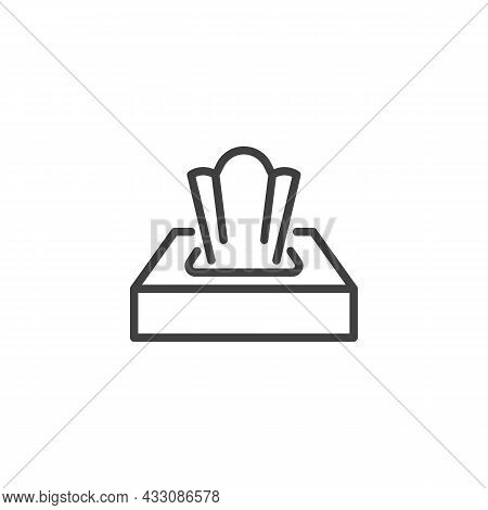 Paper Napkin Box Line Icon. Linear Style Sign For Mobile Concept And Web Design. Tissue Box Outline