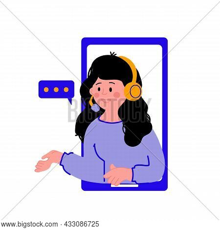Illustration Of The Customer Support Service. A Woman Wearing Headphones With A Microphone. Illustra
