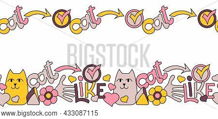 Cats Cartoon Banner. Seamless Horizontal Border. Pet Shop, Cat Hotel Or Veterinary Clinic Vector Ill