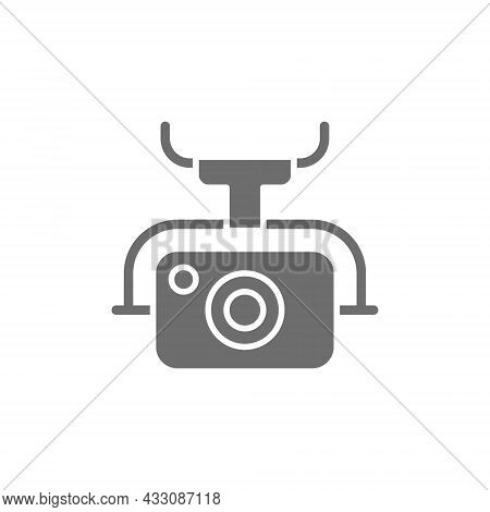 Action Camera For Drone, Extreme Video Cam Grey Icon.