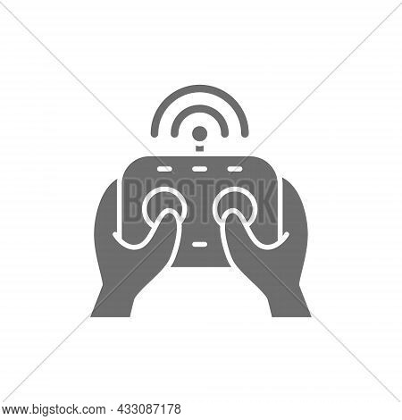Hands Holds Remote Controller, Control Panel For Drone, Gamepad Grey Icon.