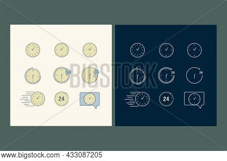 A Set Of Linear Time And Clock Icons. Icons In Color And Lines. Time Management. A Collection Of Vec