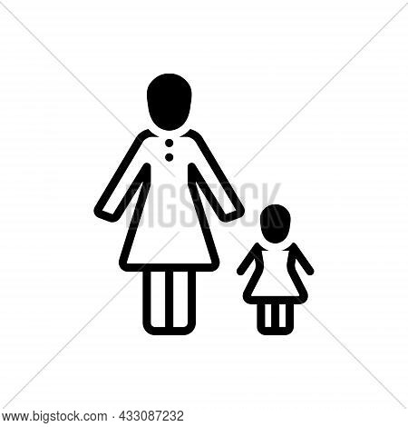 Black Solid Icon For Mother Mum Mama Ma Mummy Momma Progenitress Female-parent Daughter