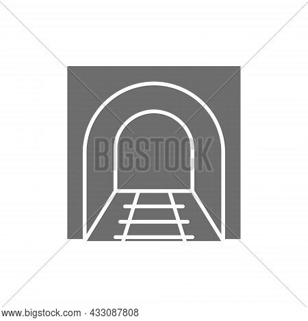 Railroad Tunnel With Rails, Railway Road, Subway Grey Icon.