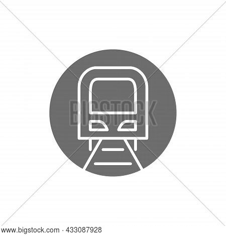 Tunnel With Train Sign, Metro, Subway, Railway Station Grey Icon.