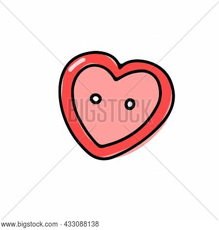 Vector Heart-shaped Red Button Isolated On White Background. Doodle Illustration For Weddings, T-shi