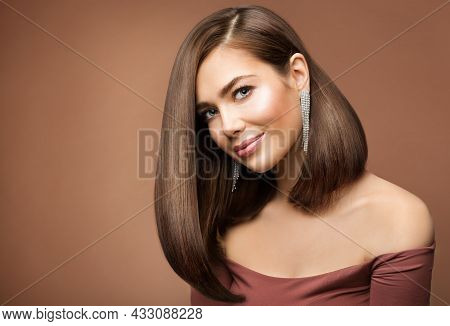 Woman Long Bob Haircut. Smiling Beauty Model With Brown Shiny Straight Hairstyle Looking At Camera O