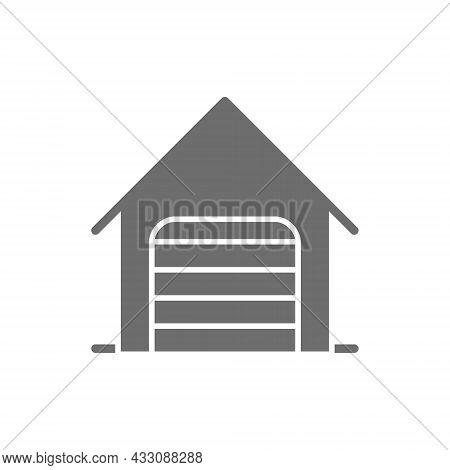Car Garage With Roller Shutter Door Line Icon.