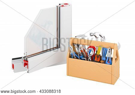 Plastic Window Profile With Toolbox. Service And Repair Of Plastic Window Profile. 3d Rendering Isol