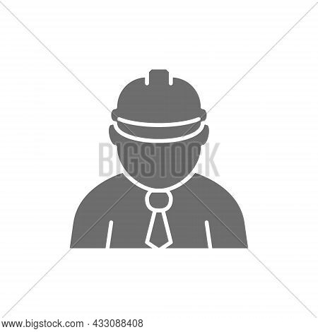 Construction Worker, Foreman, Engineer, Architect Grey Icon.