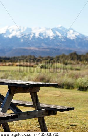 Picnic Table And Bench Mountain View In The Tongariro National Park New Zealand