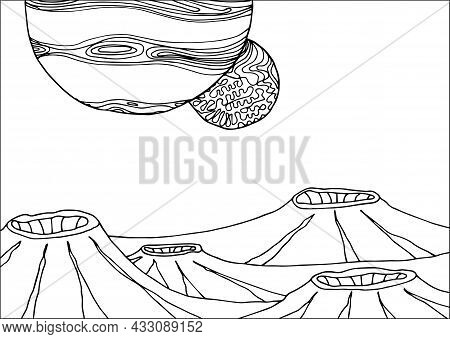 Doodle Alien Fantasy Landscape With Big Craters Coloring Page For Adults. Fantastic Psychedelic Grap