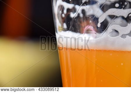 Close Up One Full Glass Of Unfiltered Wheat Beer On Table, With Copy Space, Low Angle Side View