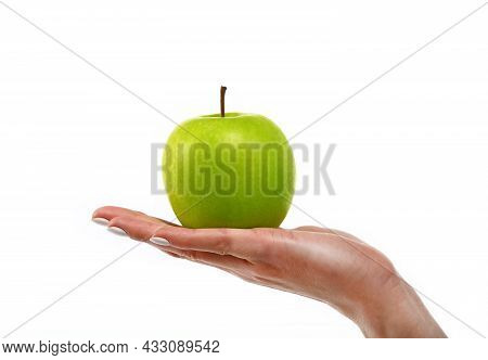 Close Up Caucasian Woman Hand Holding One Fresh Green Apple Isolated On White Background, Symbol Of