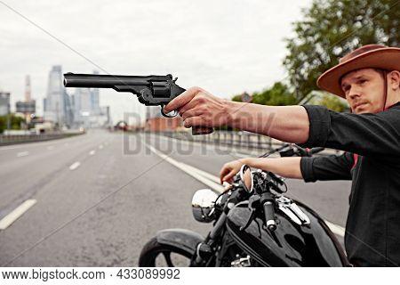 Mafia Man On Bike With Handgun. Sporty Biker Handsome Rider Male. Chase