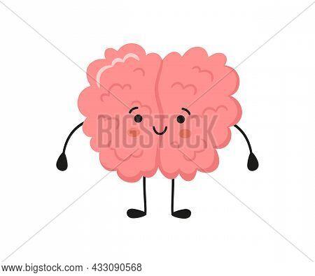 Kawaii Happy Human Brain Character. Hand Drawn Symbol Of Healthy Mind. Vector Cartoon Illustration I