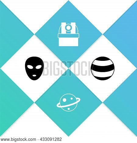 Set Alien, Planet Saturn, Astronomical Observatory And Icon. Vector