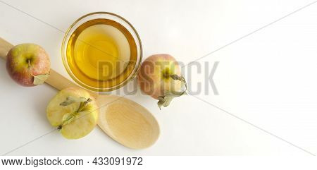 Vegetarian Fruit Composition.two Apples With Leaves, A Half Of Apple With Green Leaf, Bowl With Appl