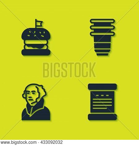 Set Burger, Declaration Of Independence, George Washington And Paper Glass Icon. Vector
