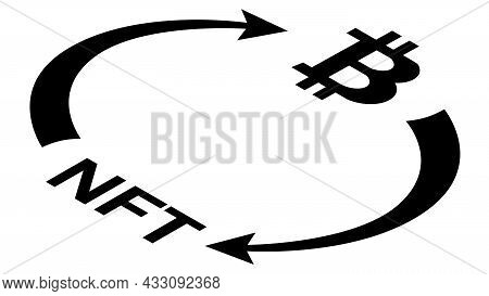 Nft And Bitcoin Btc Circulation Isometric Concept With Symbols And Cyclical Arrows In Monochrome Sil