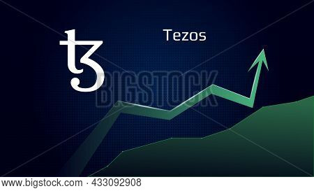 Tezos Xtz In Uptrend And Price Is Rising. Cryptocurrency Coin Symbol And Green Up Arrow. Flies To Th