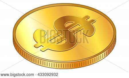 Gold Coin Dollar Usd In Isometric Top View Isolated On White. Vector Design Element.