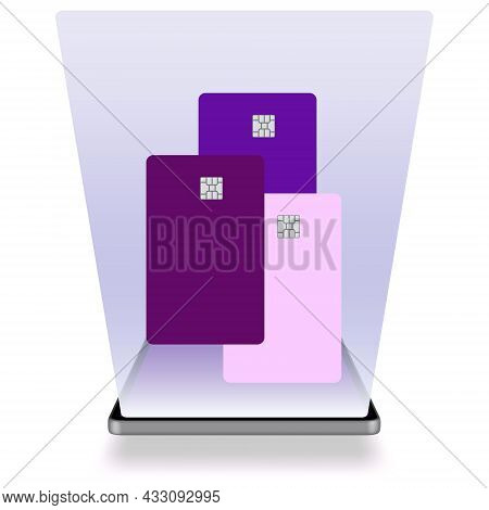 E-wallet Concept On Mobile Phone. All Credit Cards In Mobile Electronic Wallet On The Smartphone. Te
