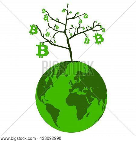 Bitcoin Growth Concept On Planet Earth Isolated On White. Tree With Leaves From Bitcoins. Vector Ill