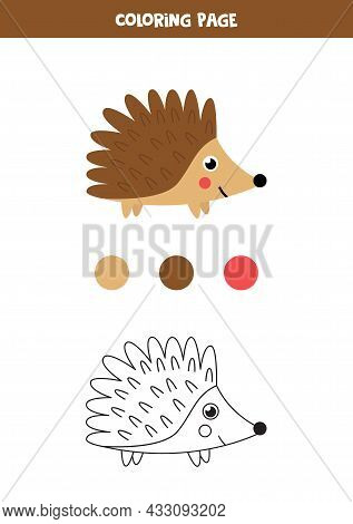 Coloring Page With Cute Cartoon Hedgehog. Worksheet For Children.