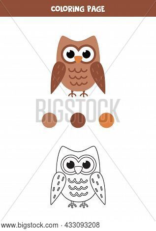 Coloring Page With Cute Owl. Worksheet For Children.