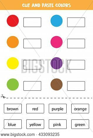 Cut And Paste Colors. Educational Worksheet For Learning Colors.