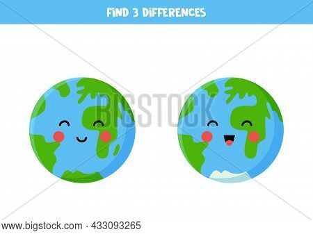 Find Three Differences Between Two Pictures Of Planet Earth.