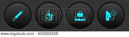 Set Cigarette, No Electronic Cigarette, Heartbeat Increase And Healthy Breathing Icon. Vector