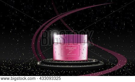 Realistic Cream Jar On Pedestal With Sequins On Black Background, Banner With Copy Space For Cosmeto
