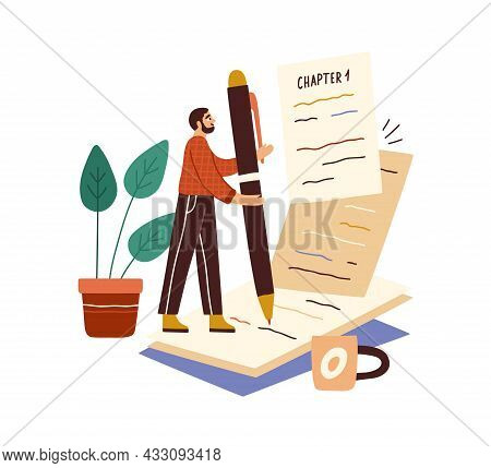 Writer Writing Book With Pen On Papers. Author Creating Fiction Literature. Work And Creation Proces