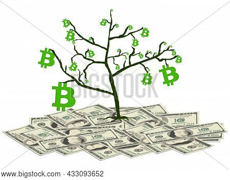 Tree With Bitcoins Stands On Pile Of Paper Dollars Isolated On White. Concept Of Converting Dollars